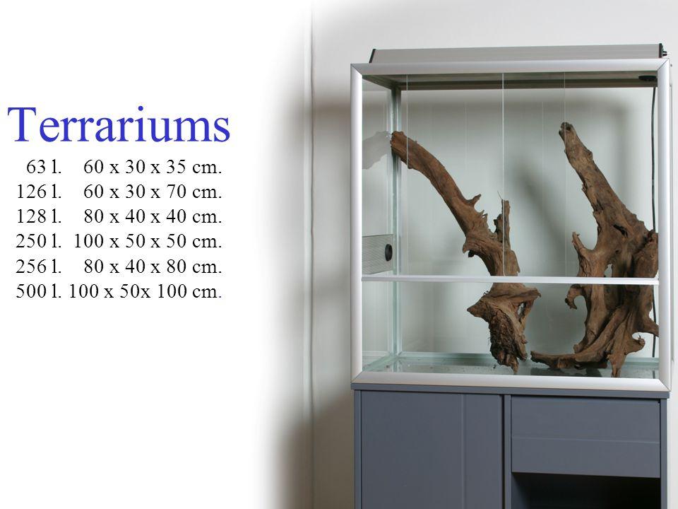 Terrariums 63 l. 60 x 30 x 35 cm. 126 l. 60 x 30 x 70 cm. 128 l