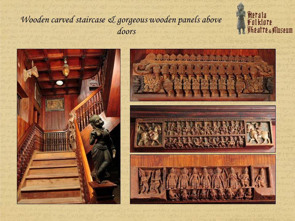 Wooden carved staircase & gorgeous wooden panels above doors