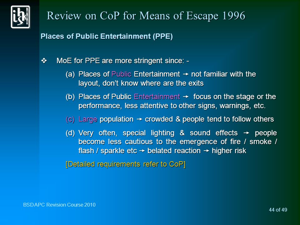 Review on CoP for Means of Escape 1996