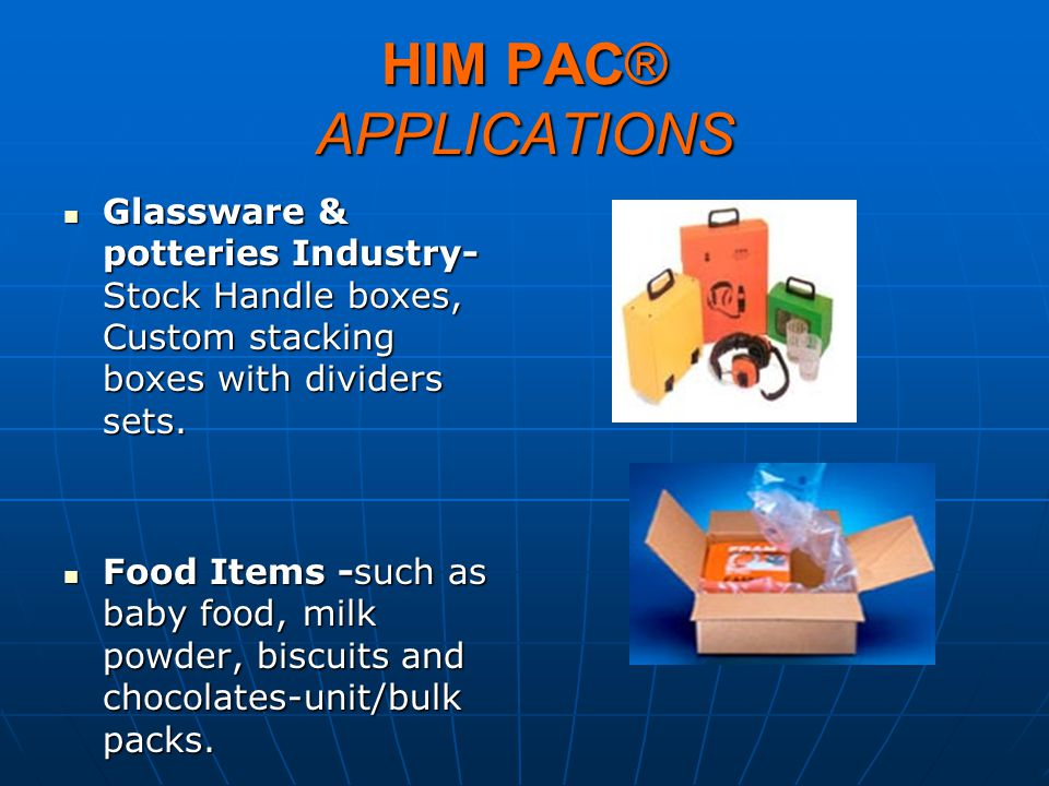 HIM PAC® APPLICATIONS Glassware & potteries Industry-Stock Handle boxes, Custom stacking boxes with dividers sets.