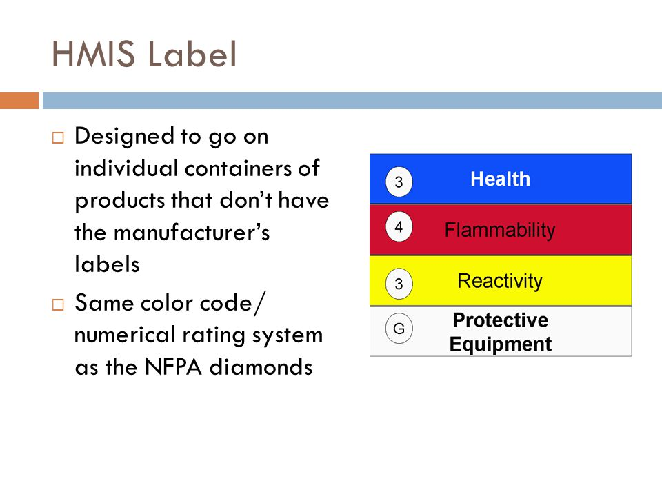 HMIS Label Designed to go on individual containers of products that don't have the manufacturer's labels.