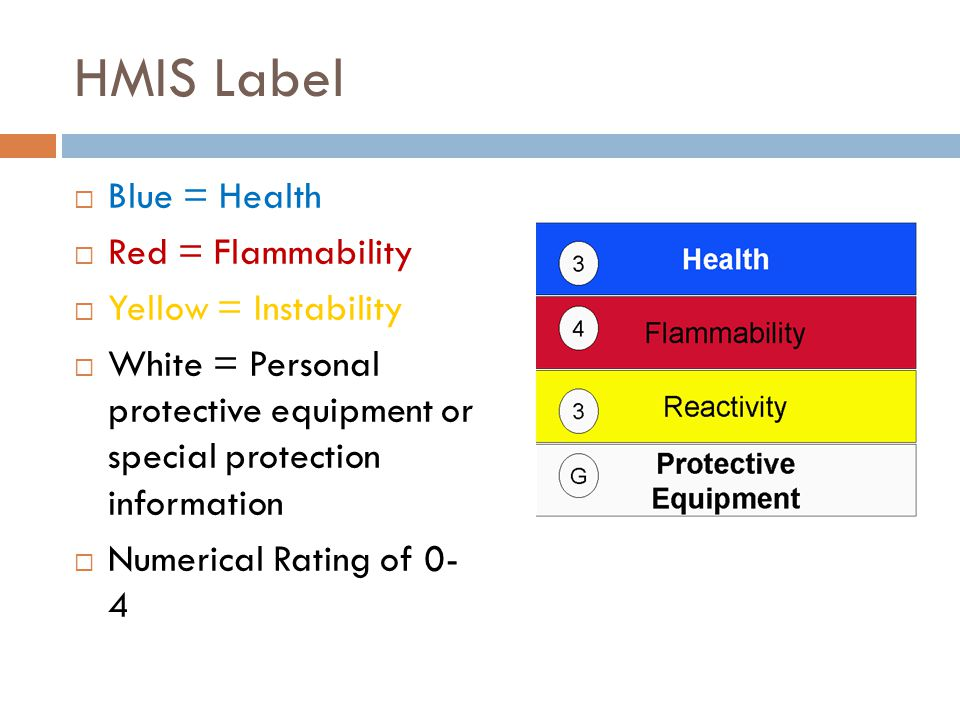 HMIS Label Blue = Health Red = Flammability Yellow = Instability