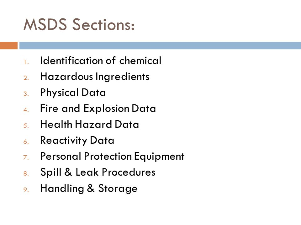 MSDS Sections: Identification of chemical Hazardous Ingredients