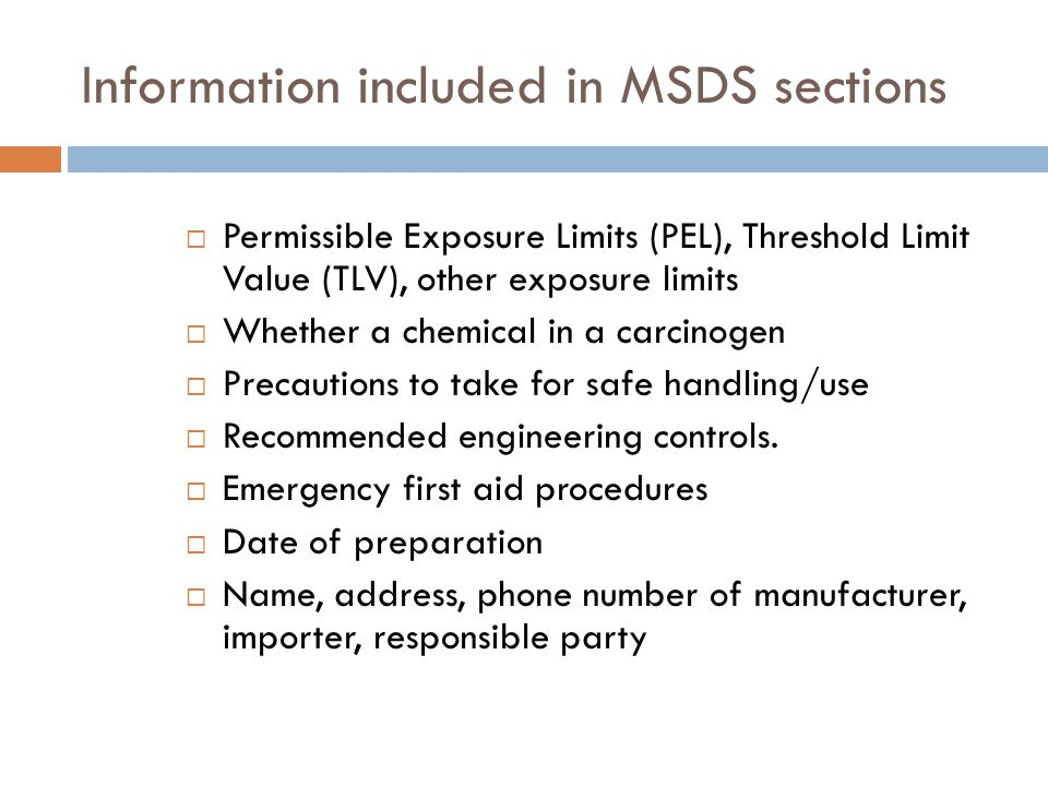 Information included in MSDS sections