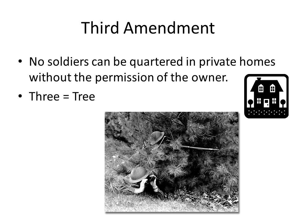 Third Amendment No soldiers can be quartered in private homes without the permission of the owner.