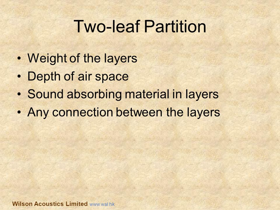 Two-leaf Partition Weight of the layers Depth of air space