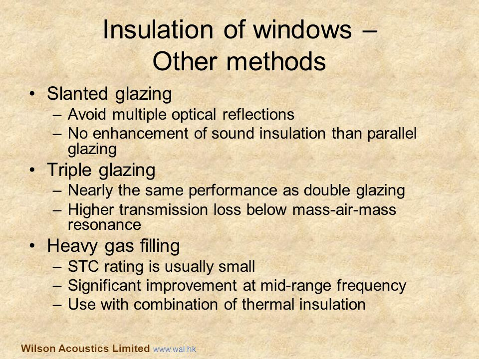 Insulation of windows – Other methods