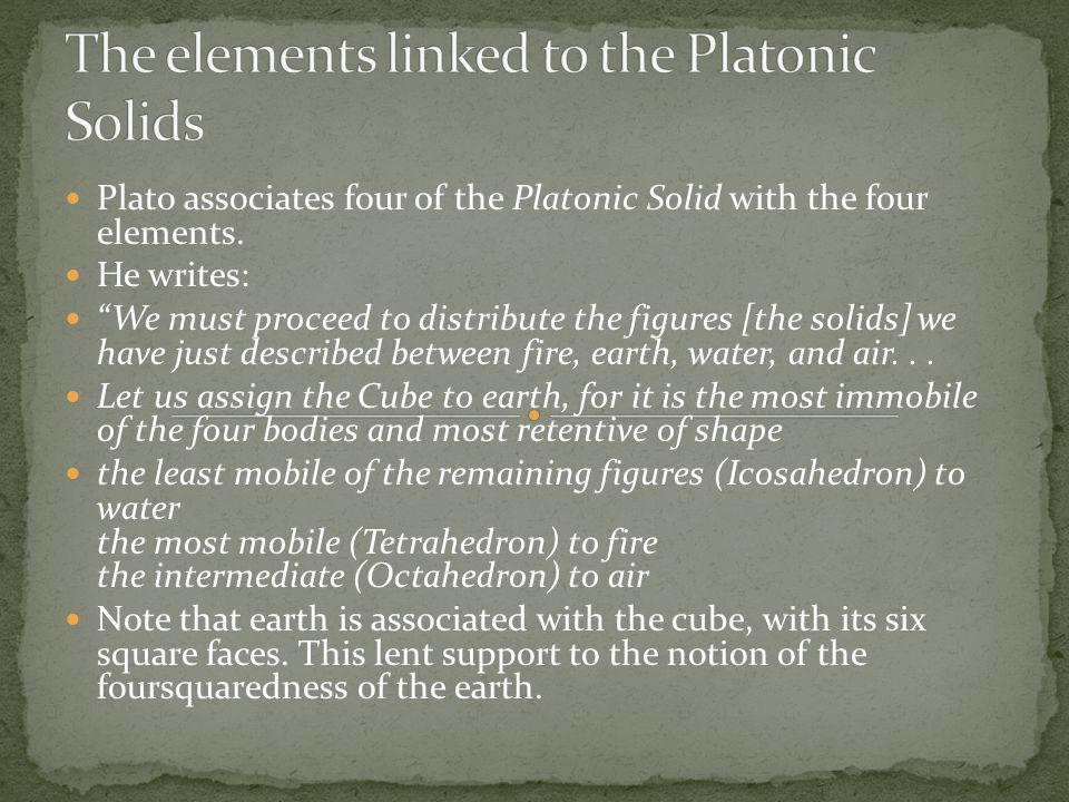 The elements linked to the Platonic Solids
