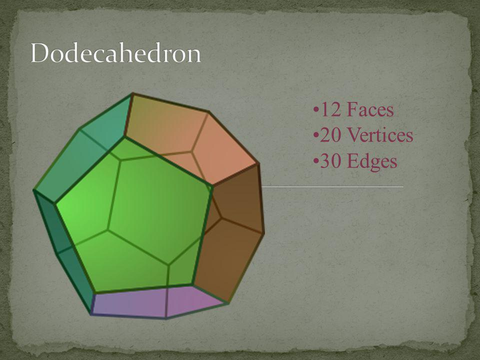 Dodecahedron 12 Faces 20 Vertices 30 Edges