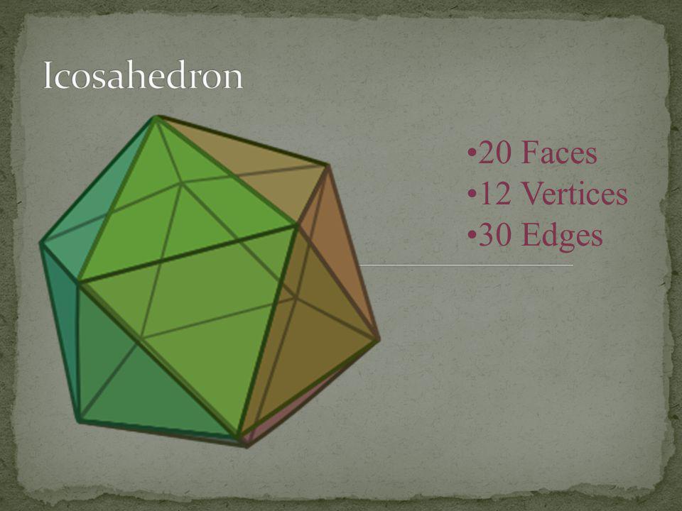 Icosahedron 20 Faces 12 Vertices 30 Edges