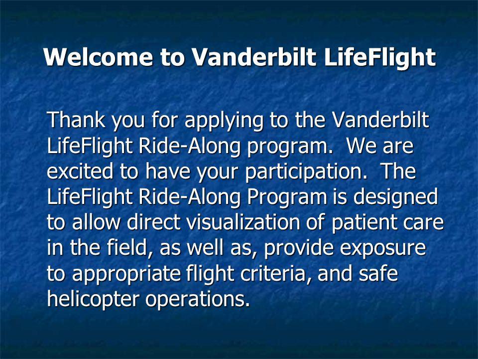 Welcome to Vanderbilt LifeFlight
