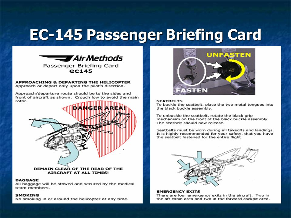 EC-145 Passenger Briefing Card