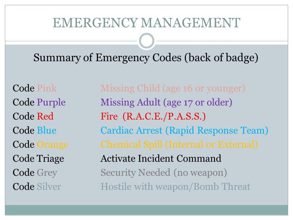 Summary of Emergency Codes (back of badge)