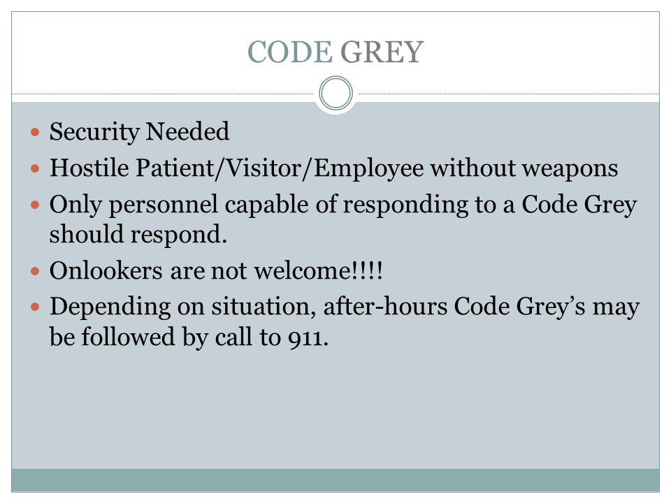 CODE GREY Security Needed