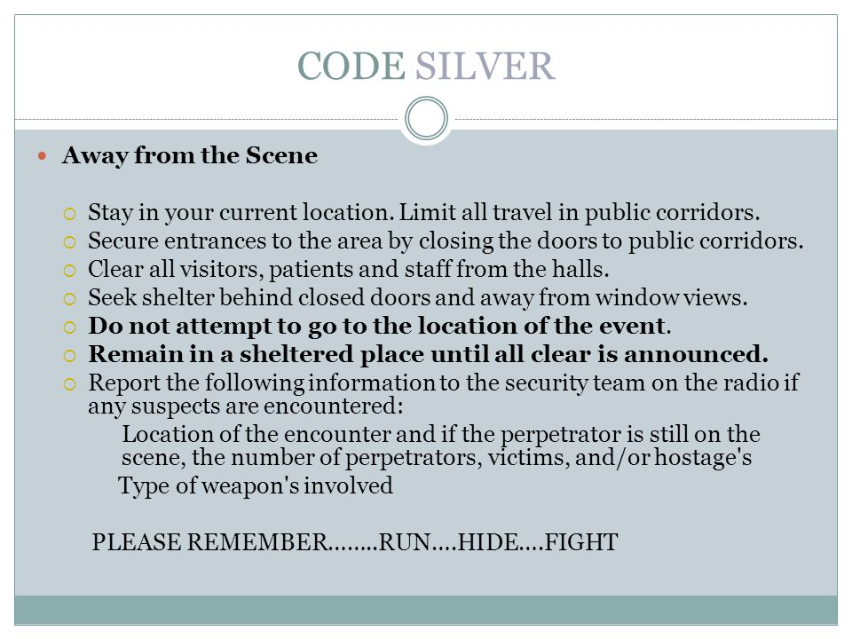 CODE SILVER Away from the Scene