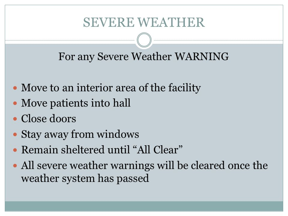 For any Severe Weather WARNING