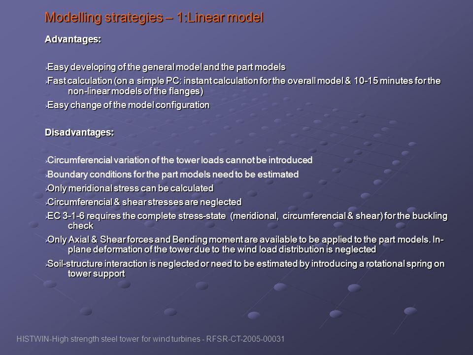 Modelling strategies – 1:Linear model