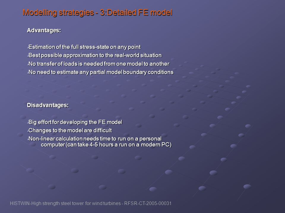 Modelling strategies - 3:Detailed FE model