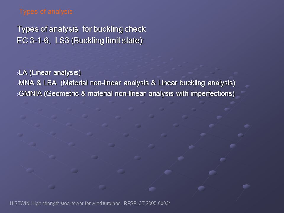 Types of analysis for buckling check
