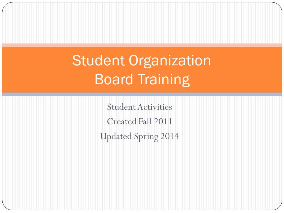 Student Organization Board Training