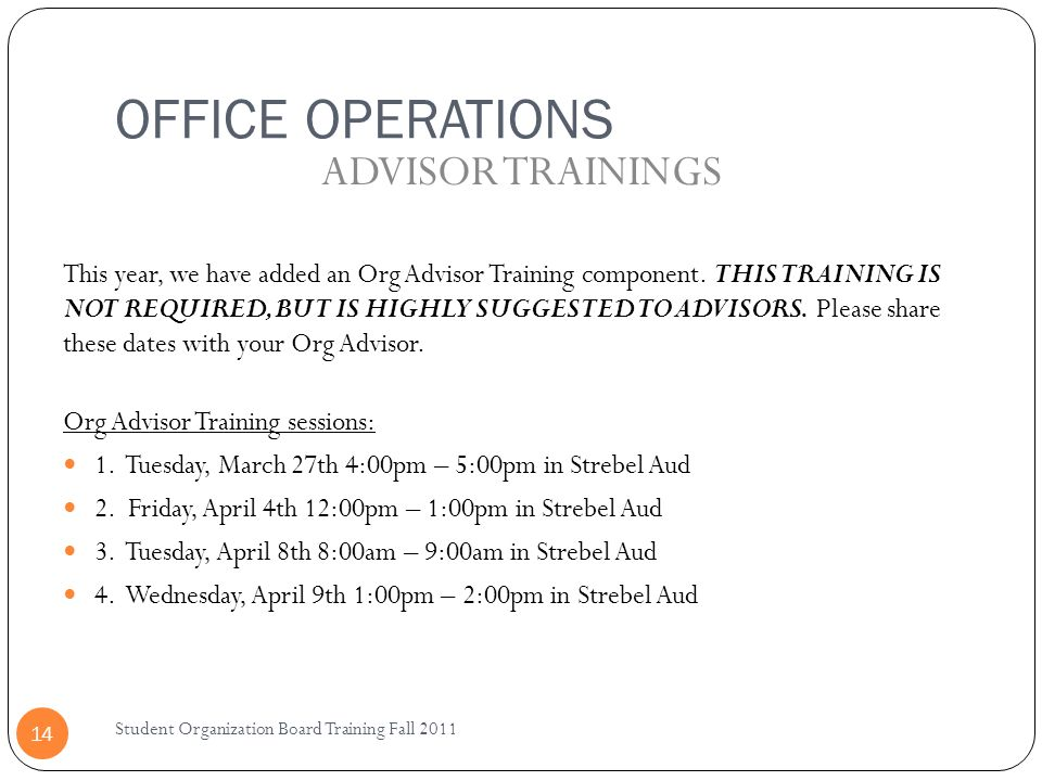 OFFICE OPERATIONS ADVISOR TRAININGS