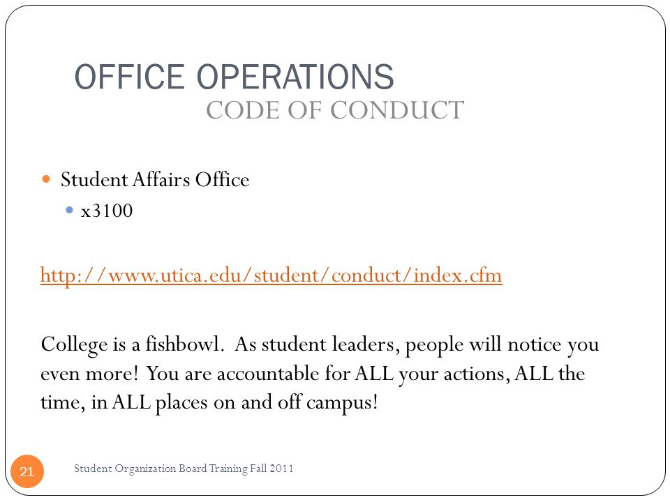 OFFICE OPERATIONS CODE OF CONDUCT Student Affairs Office