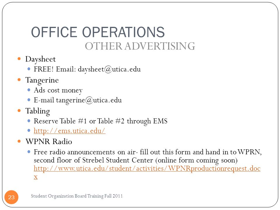 OFFICE OPERATIONS OTHER ADVERTISING Daysheet Tangerine Tabling