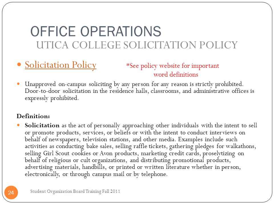 UTICA COLLEGE SOLICITATION POLICY