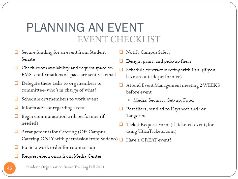 PLANNING AN EVENT EVENT CHECKLIST