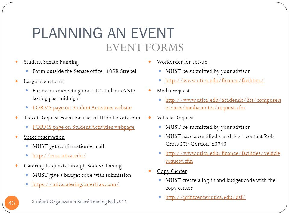 PLANNING AN EVENT EVENT FORMS Student Senate Funding