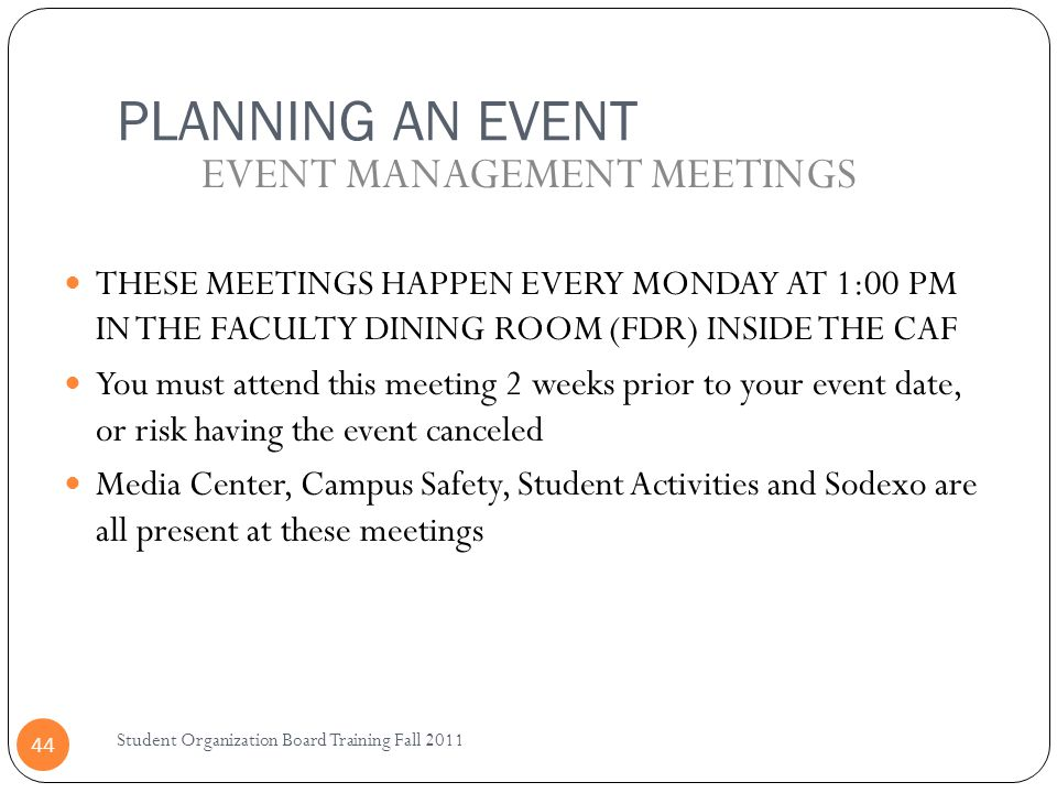 EVENT MANAGEMENT MEETINGS
