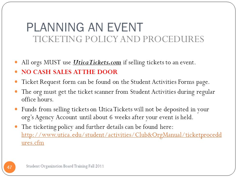 TICKETING POLICY AND PROCEDURES