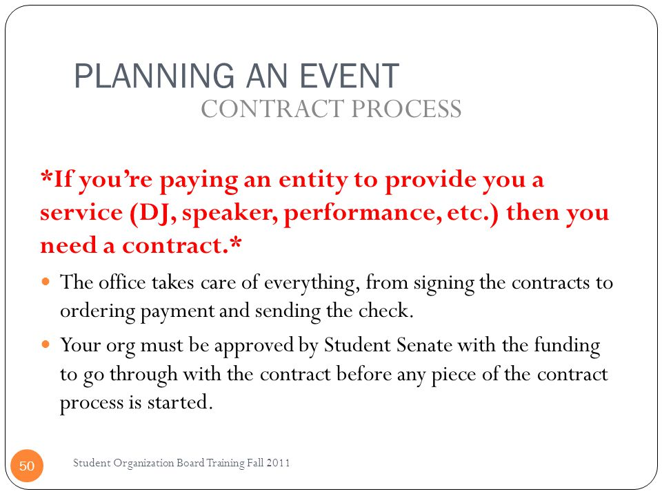 PLANNING AN EVENT CONTRACT PROCESS