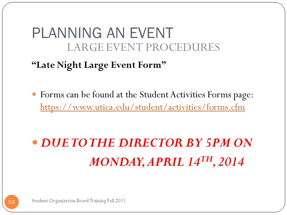LARGE EVENT PROCEDURES