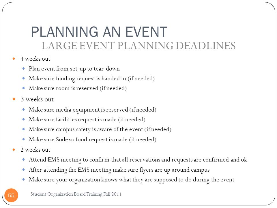 LARGE EVENT PLANNING DEADLINES