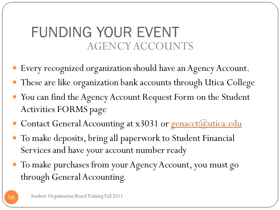 FUNDING YOUR EVENT AGENCY ACCOUNTS