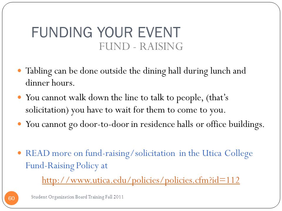 FUNDING YOUR EVENT FUND - RAISING