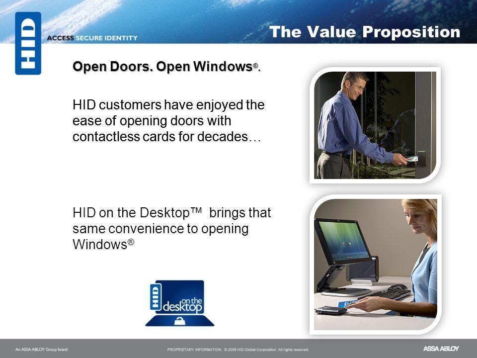 The Value Proposition Open Doors. Open Windows®.