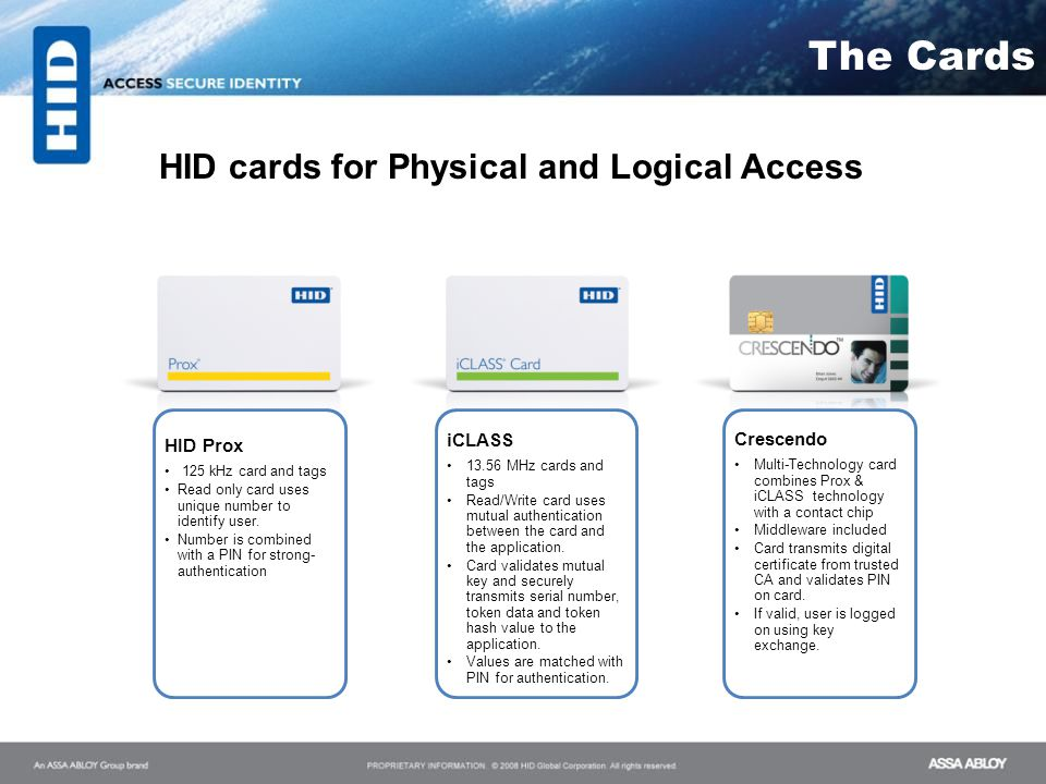The Cards The Components HID cards for Physical and Logical Access