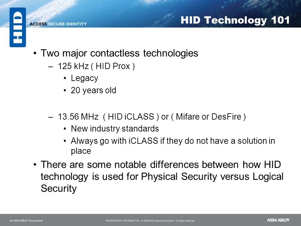 Two major contactless technologies