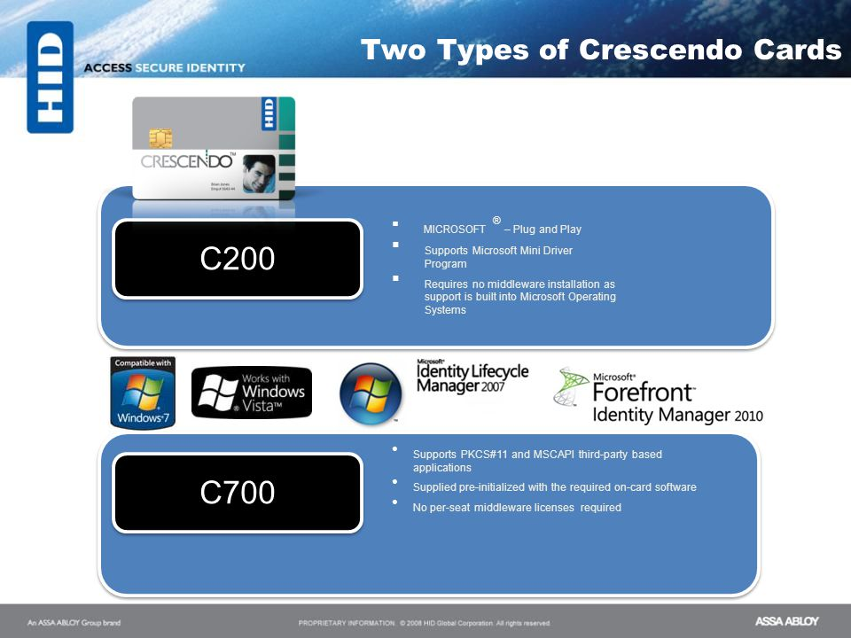Two Types of Crescendo Cards