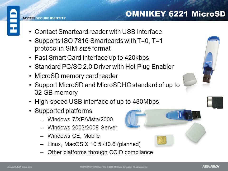 OMNIKEY 6221 MicroSD Contact Smartcard reader with USB interface