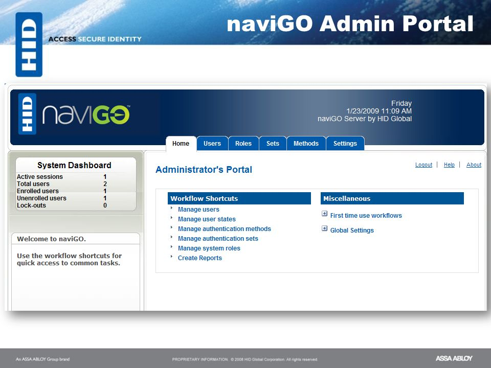 Server Admin Portal naviGO Admin Portal