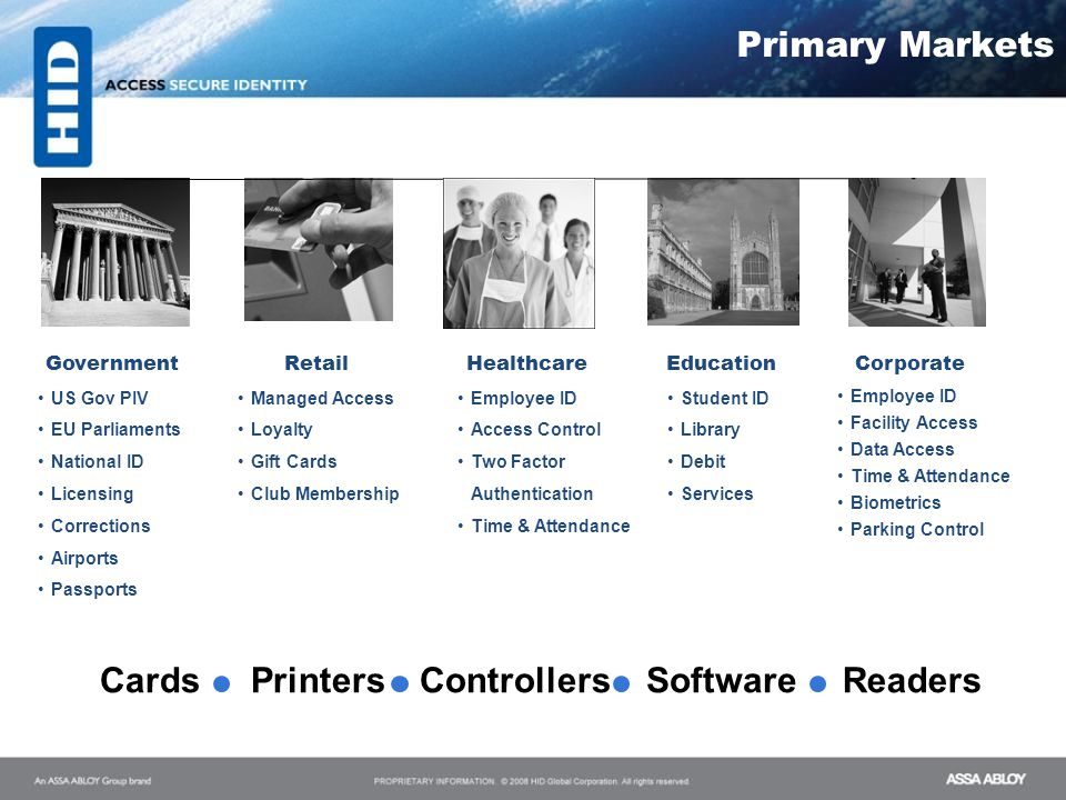 Cards Printers Controllers Software Readers Primary Markets Government
