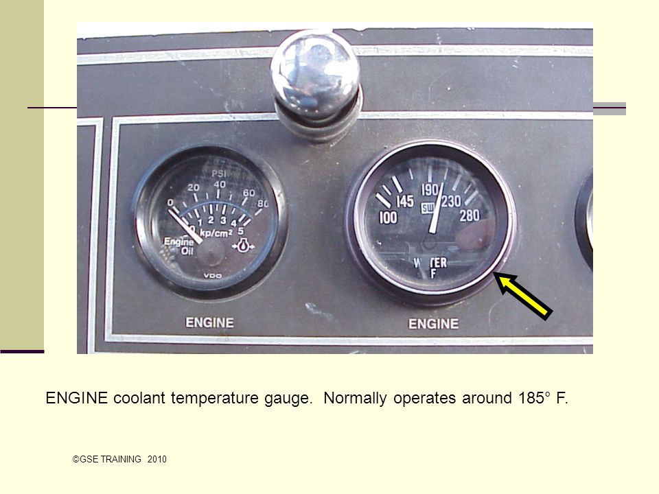 ENGINE coolant temperature gauge. Normally operates around 185° F.