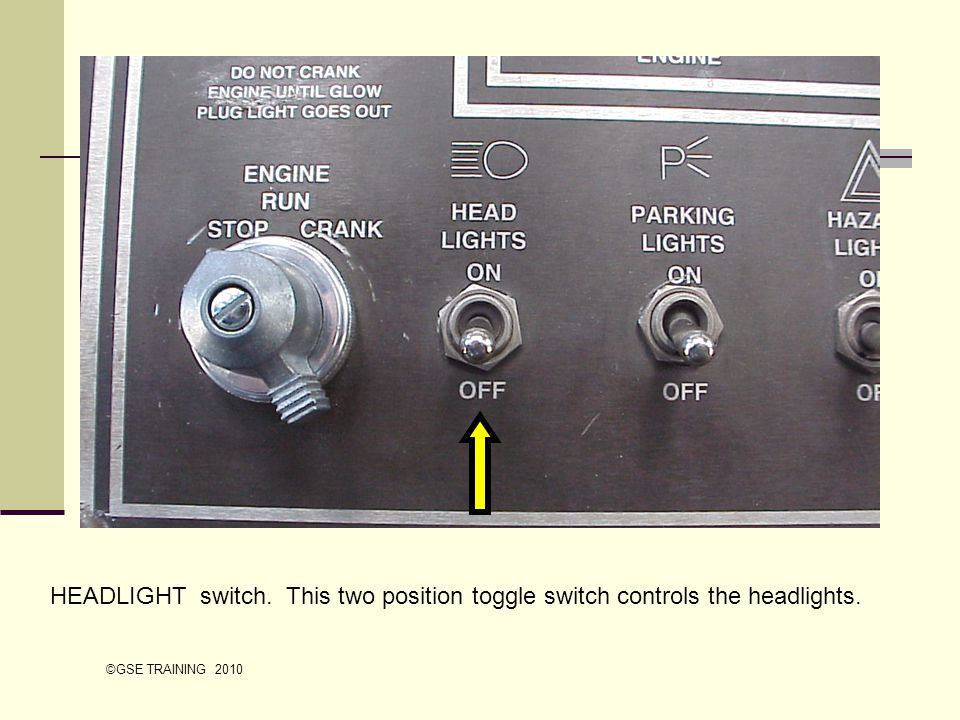 HEADLIGHT switch. This two position toggle switch controls the headlights.