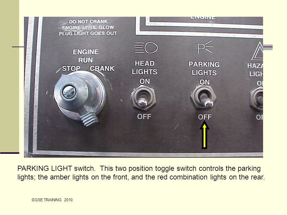 PARKING LIGHT switch. This two position toggle switch controls the parking lights; the amber lights on the front, and the red combination lights on the rear.