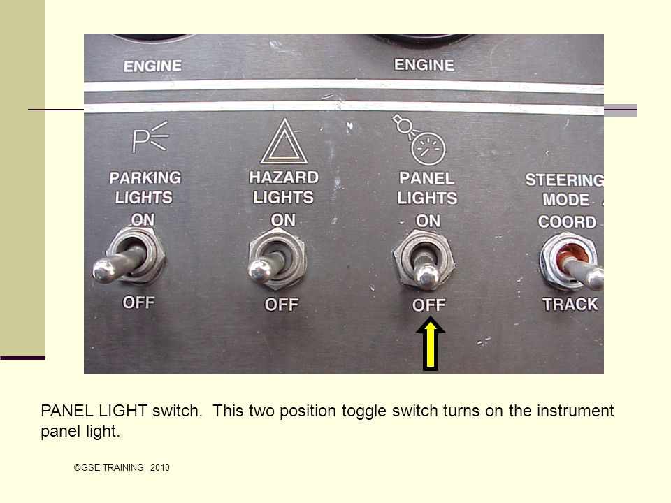 PANEL LIGHT switch. This two position toggle switch turns on the instrument panel light.