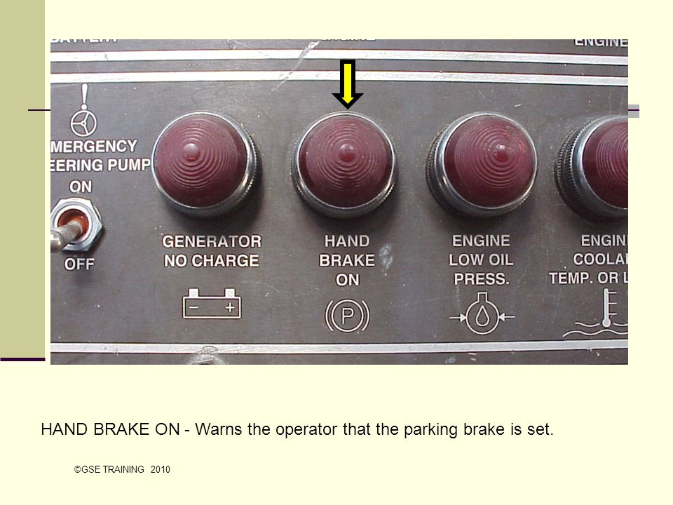 HAND BRAKE ON - Warns the operator that the parking brake is set.