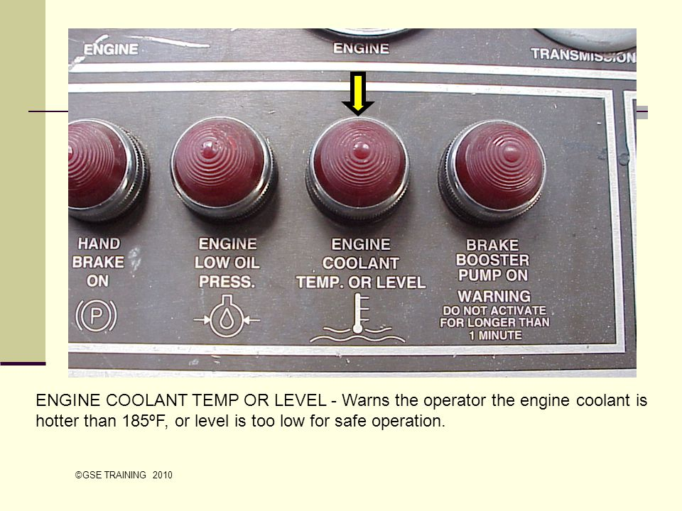 ENGINE COOLANT TEMP OR LEVEL - Warns the operator the engine coolant is hotter than 185ºF, or level is too low for safe operation.
